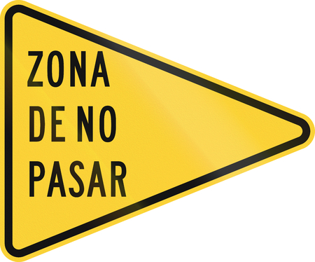 us road warning sign: no passing zone stock photo, picture and