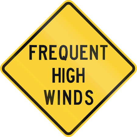 high winds: US warning traffic sign: Frequent high winds.