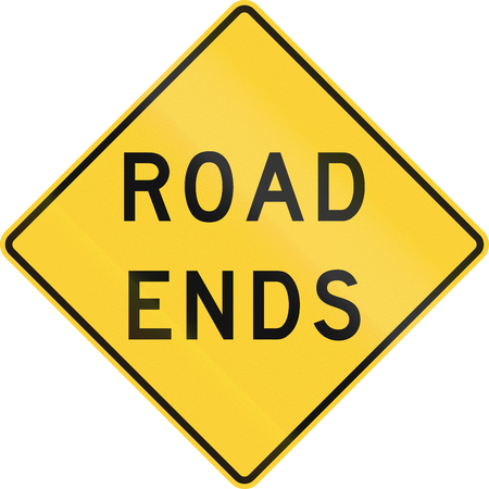 the ends: US warning traffic sign: Road ends Stock Photo