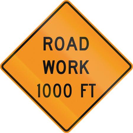 work ahead: US warning traffic sign: Road work ahead 1000 feet. Stock Photo