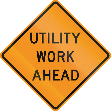 미국 교통 경고 표지 : 앞서 유틸리티 작업. 스톡 콘텐츠