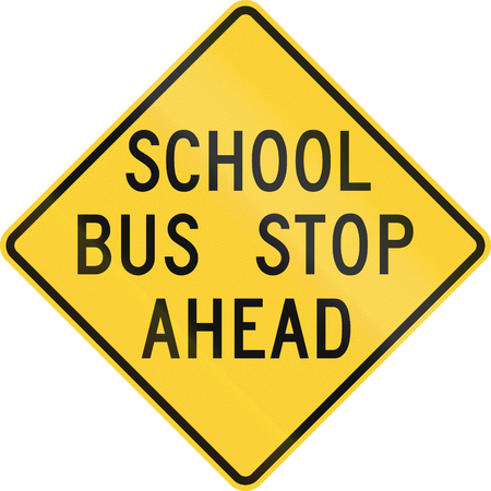 United states school warning sign: School bus stop ahead, old version. photo