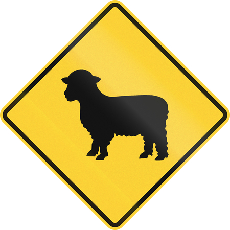 sheep road sign: US road warning sign: Sheep crossing Stock Photo