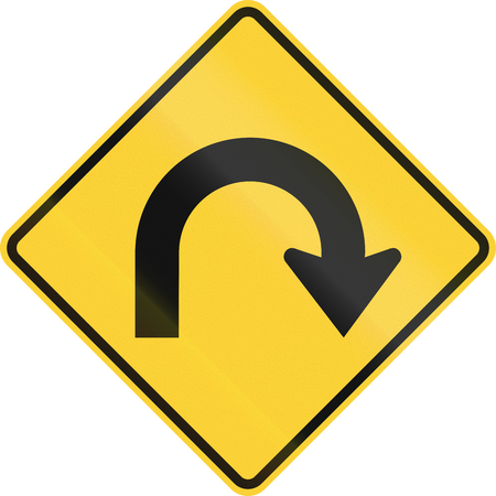 curve road: US road warning sign: Hairpin Curve