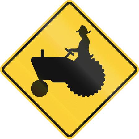 tractor warning sign: US road warning sign: Tractorfarm vehicle crossing Stock Photo
