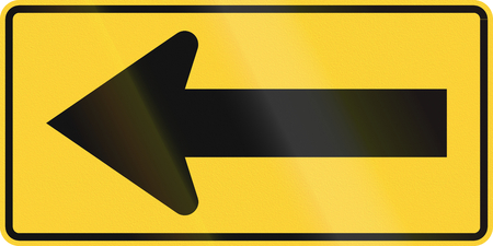 handed: US road warning sign: One direction