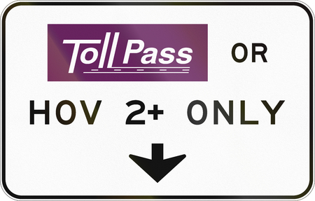 occupancy: United States Tollpass or HOV 2+ only highway sign.