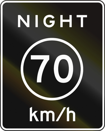 metric: United States metric speed limit during night sign Stock Photo