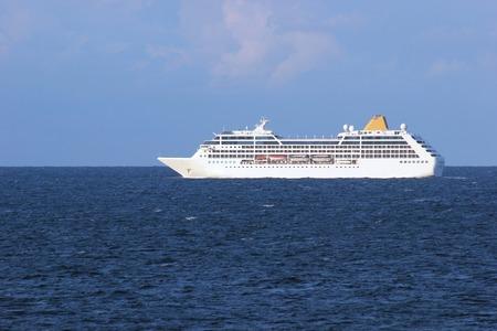 Generic passenger ferry in open waters. Stock Photo