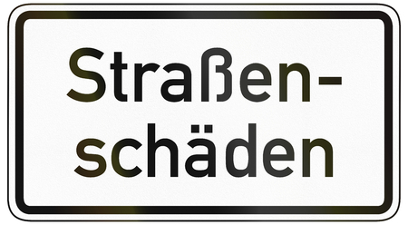 image created 21st century: German traffic sign additional panel to specify the meaning of other signs: Potholes, lit. road damage. Stock Photo