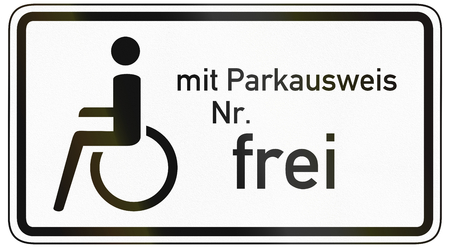 specify: German traffic sign additional panel to specify the meaning of other signs: Disabled with permit No. allowed. Stock Photo