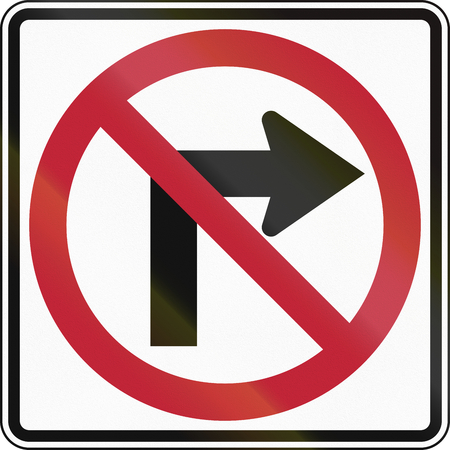 red handed: United States traffic sign: No Right Turn