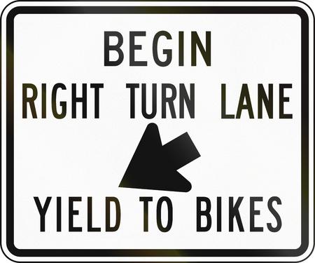 United States traffic sign: Begin right turn lane - yield to bikes