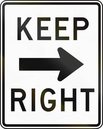 handed: United States traffic sign: Keep right Stock Photo