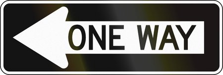 handed: United States traffic sign: One way Stock Photo