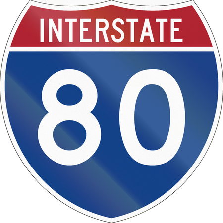 interstate 80: United States interstate route shield. Stock Photo