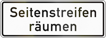 passing over: German traffic sign additional panel to specify the meaning of other signs: End of passing over vergesshoulder. Stock Photo