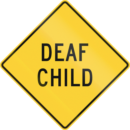 physical impairment: US warning traffic sign: Deaf child. Stock Photo