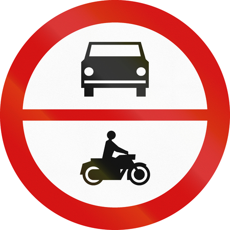 Polish traffic sign prohibiting thoroughfare of cars and motorcycles. photo