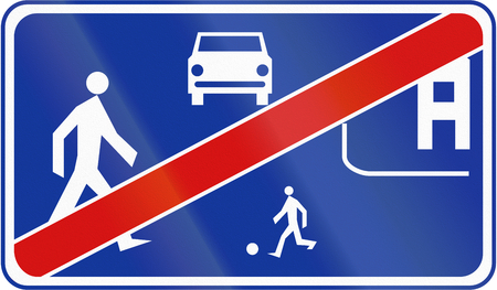 Polish traffic sign: End of home zone. photo