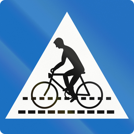 give way: Austrian traffic sign: Bicyclle crossing (give way).