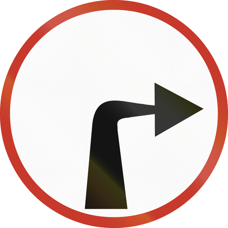 restricting: Old design (1953) of a German sign restricting the driving direction to right.