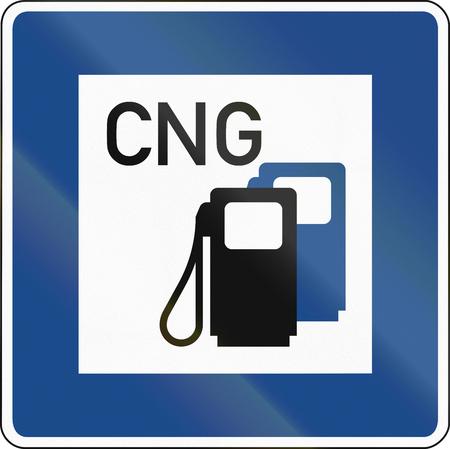 German traffic sign: Petrol station with compressed natural gas (CNG). Zdjęcie Seryjne