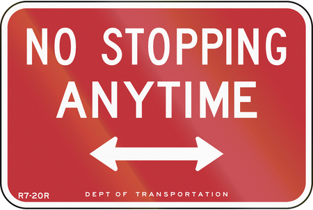 stopping: US traffic sign: No Stopping Anytime, New York City
