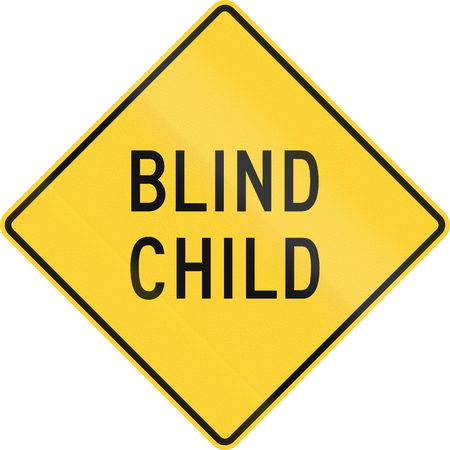blind child: US warning traffic sign: Blind child. Stock Photo