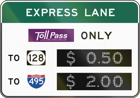 express lane: United States express lane, Tollpass only, with gives prices. Stock Photo