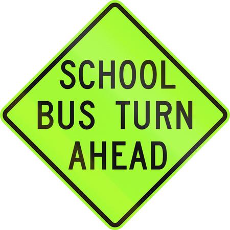 United states school warning sign: School bus turn ahead. photo