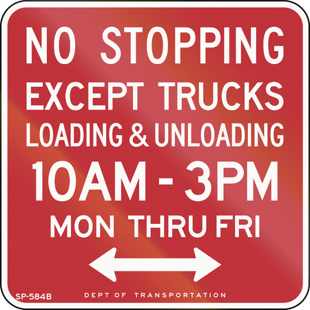 stopping: US traffic sign: No stopping in specified time except trucks loading and unloading