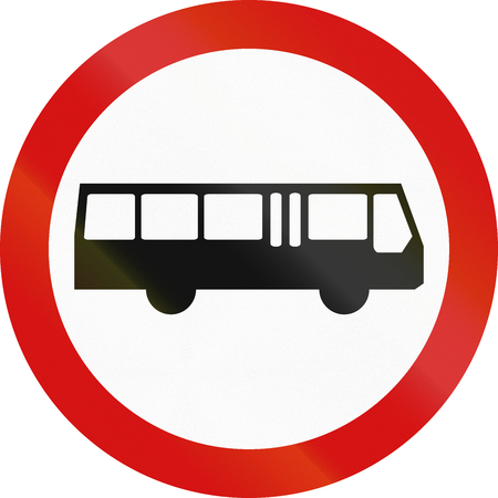 busses: Polish regulatory sign - no busses and coaches.