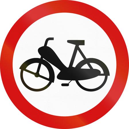 mopeds: Polish traffic sign prohibiting thoroughfare of mopeds.