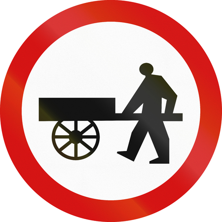 image date: Polish traffic sign prohibiting thoroughfare of handcarts. Stock Photo