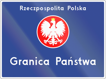 national border: Polish road sign, the text means: Republic of Poland - National border