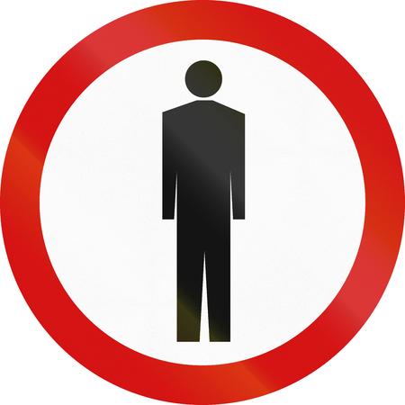 pedestrians: Polish traffic sign: No pedestrians. Stock Photo