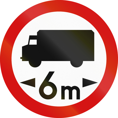metric: Polish traffic sign prohibiting thoroughfare of lorries with a gross weight over 6 metric tons.