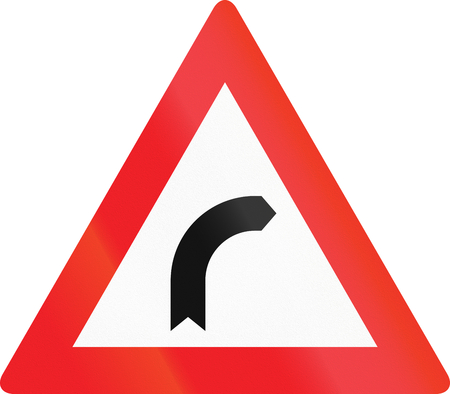 image created 21st century: Austrian sign warning about a right curve.