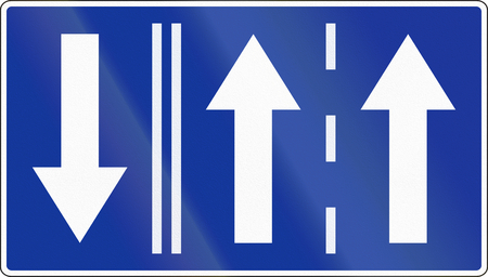 opposing: Polish road sign: Two available lanes, shown with opposing traffic.