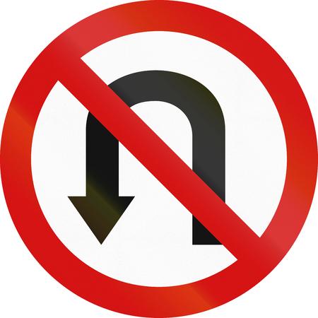 red handed: Polish regulatory sign - no U-turn. Stock Photo