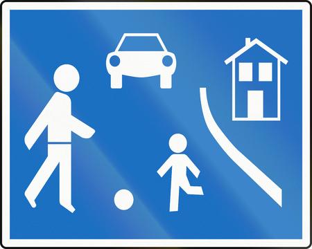 Austrian traffic sign: Home zone. photo