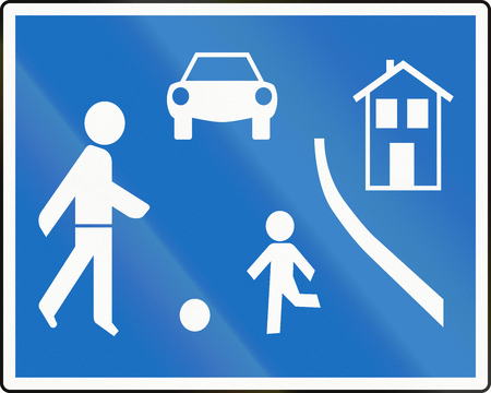 Austrian traffic sign: Home zone. photo