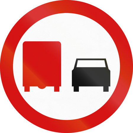 overtaking: Polish traffic sign: No overtaking by lorries!