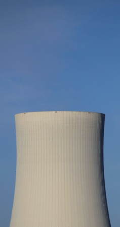 image created 21st century: Cooling tower and clear blue sky. Stock Photo