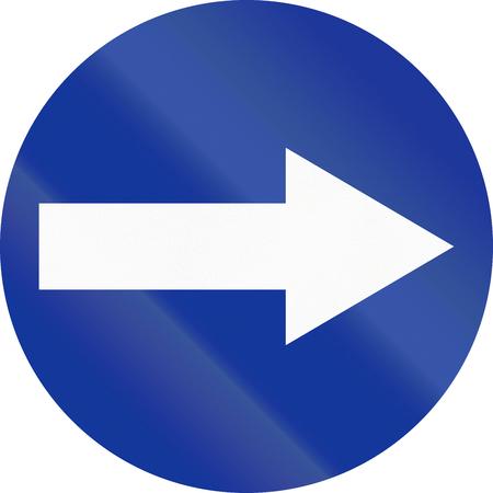 image created 21st century: Polish traffic sign: Turn right