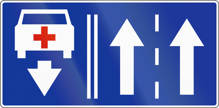 opposing: Polish road sign: Two available lanes, shown with opposing lane for emergency vehicles