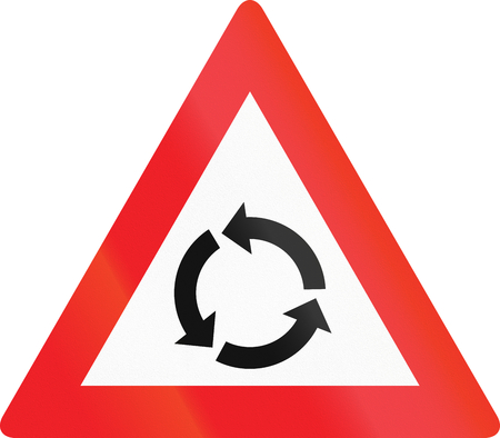 counterclockwise: Austrian traffic warning sign: Intersection with traffic circle.