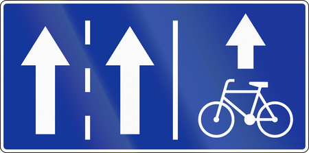 right handed: Polish traffic sign: Bike lane on the right.