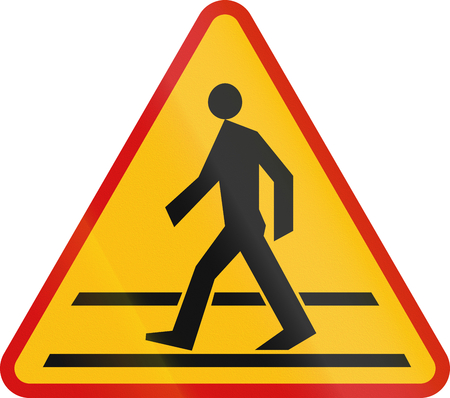 image date: Polish sign warning about a pedestrian crossing.